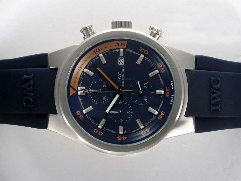 Fake Fancy IWC Aquatimer Working Chronograph with Blue Dial and Blue Rubber Strap AAA Watches [C5B7]