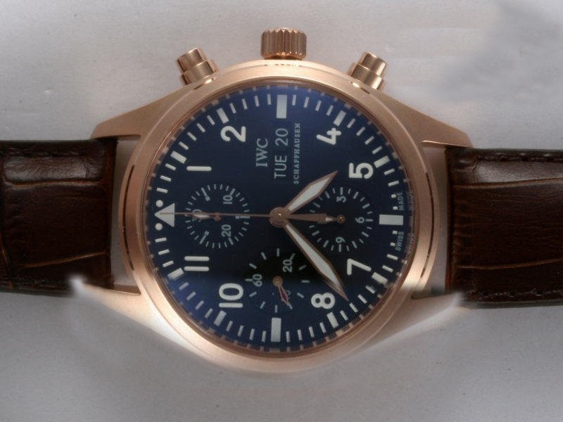 Fake Fancy IWC Pilot Chronograph  Movement Rose Gold Case AAA Watches [R6O3]