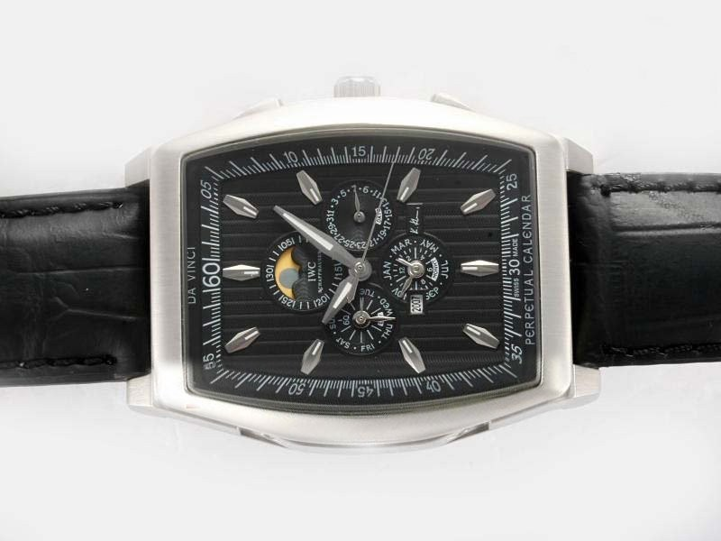 Fake Gorgeous IWC Da Vinci Perpetual Calendar Automatic with Black Dial AAA Watches [P9I5]