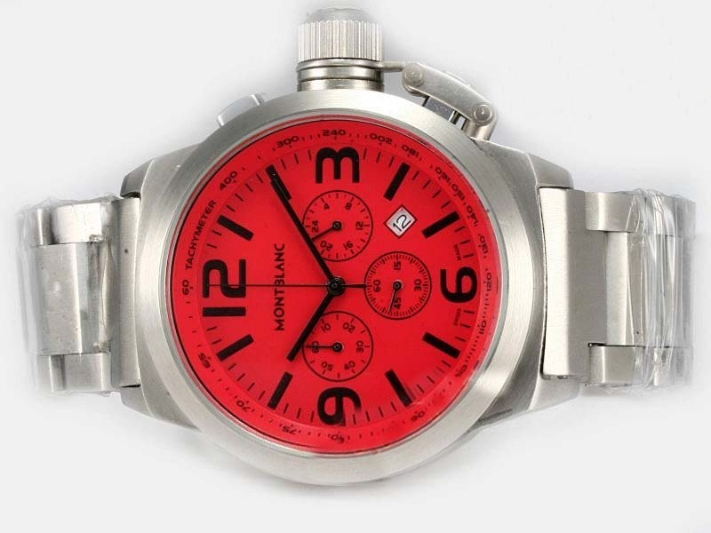 Fake Gorgeous Montblanc Star Working Chronograph med Red Dial AAA klockor [ E7K2 ]