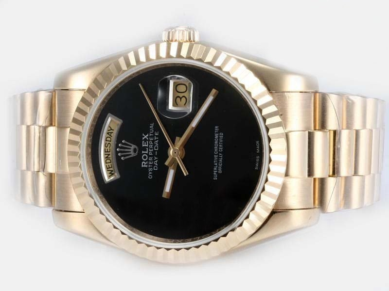 Fake Fancy Rolex Day-Date Automatic Full Gold Black Dial AAA kel
