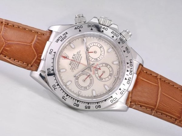 Fake Fancy Rolex Daytona Working Chronograph Beige Dial - Stick