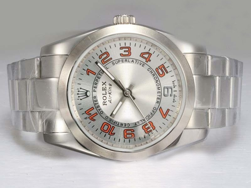 Fake Gorgeous Rolex Air -King Oyster Perpetual Automatisk med White Dial 2007 Modell AAA Klokker [ H8K6 ]