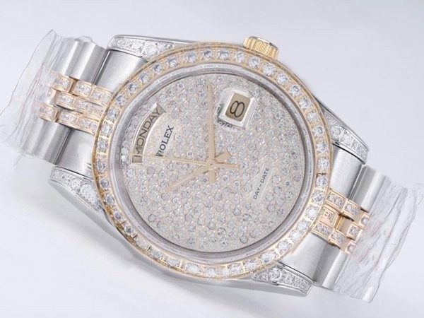 Fake Modern Rolex Day-Date Movement Two Tone Diamond Kehys AAA k