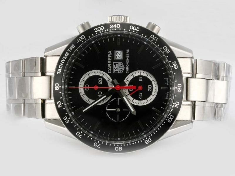 Fake Cool Tag Heuer Carrera Working Chronograph with Black Dial and Bezel AAA Watches [T8V3]