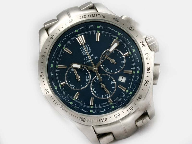 Fake Cool Tag Heuer Link Calibre 36 Working Chronograph with Blue Dial AAA Watches [I1V8]
