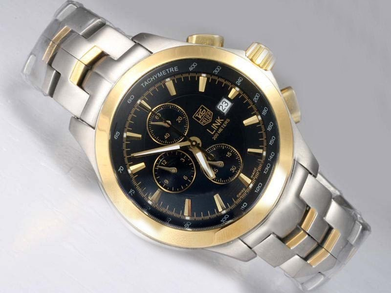 Fake Fancy Tag Heuer Link 200 Meters Working Chronograph Two Tone AAA Watches [H4V6]