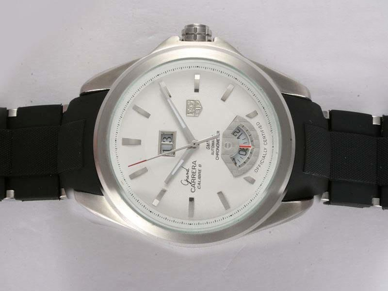 Fake Gorgeous Tag Heuer Grand Carrera Calibre 8 Automatic White Dial with Rubber Strap AAA Watches [S2N2]