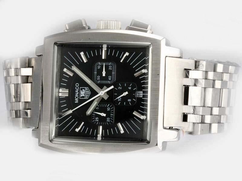 Fake Gorgeous Tag Heuer Monaco Chronograph Automatic with Black Dial AAA Watches [J4W2]