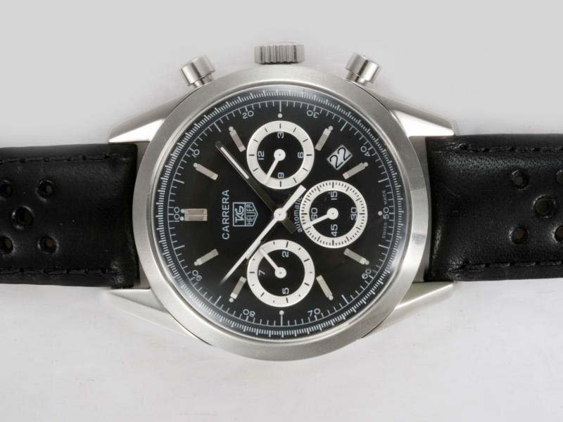 Fake Vintage Tag Heuer Carrera Chronograph Automatic med Black D
