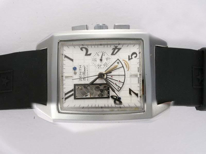 Fake Popular Zenith Grand Port Royal Open Automatic White Dial with Rubber Strap AAA Watches [Q7F4]