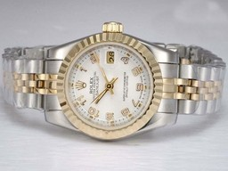 Fake Cool Rolex Datejust Automatisk To Tone med White Dial AAA Klokker [ N4S5 ]
