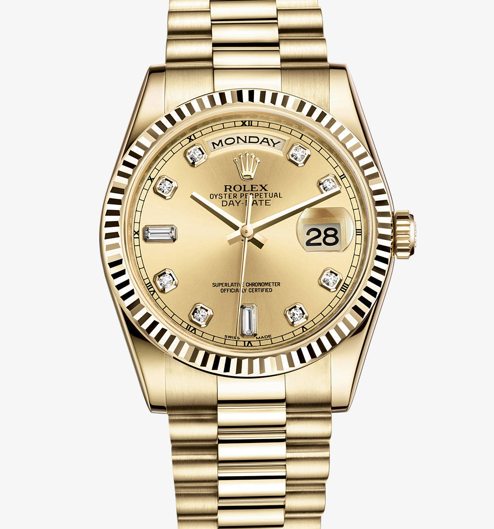 Replica Rolex Day-Date Watch: 18 karat gult guld - M118238-0116