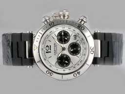 Fake Avgörande Cartier Pasha Chronograph Automatic Silver Dial med Rubber Strap AAA klockor [ R1S5 ]